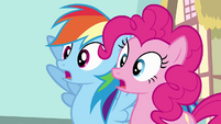 Rainbow Dash and Pinkie Pie gasp S4E12