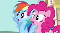 Rainbow Dash and Pinkie Pie gasp S4E12