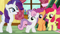 Rarity nudging Sweetie Belle out of the clubhouse S7E6