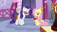Rarity pouts; Fluttershy feels sorry for her S9E19