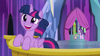 Spike and Starlight join Twilight on the balcony S6E1