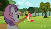 Sweetie Belle looking at Apple Bloom S2E05