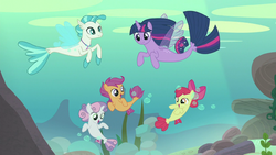 Twilight and the CMC transform into seaponies S8E6