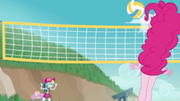Volleyball bounces off of Pinkie's face EGFF
