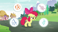 Apple Bloom with circles showing stuff she could do around her S6E4