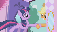 Applejack dragging Twilight outside S1E03