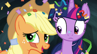 Applejack whispering to Twilight S4E22