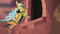 Daring carries Rainbow and Quibble to safety S6E13.png