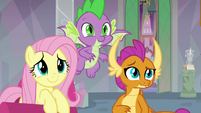 Fluttershy, Spike, and Smolder listen to Twilight S9E9