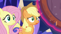 Fluttershy and AJ listening to Twilight S8E23