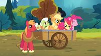 Pinkie Pie and the Apples on the wagon S4E09