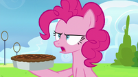 Pinkie Pie sternly tells Rainbow to eat the pie S7E23
