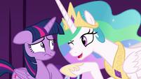 Princess Celestia winks at Twilight Sparkle S8E7