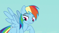 Rainbow Dash looks down at Young Six S8E2