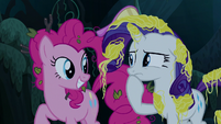 Rarity pondering Pinkie Pie's question S7E19