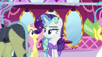 Rarity suggests a vampire fruit bat costume S5E21