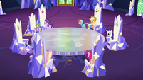 Starlight and friends in the castle throne room S6E1