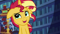 Sunset Shimmer chuckling awkwardly EGS3