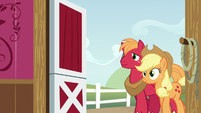 Applejack and Big Mac entering the barn S6E23