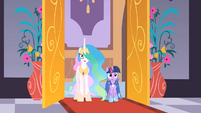 Celestia and Twilight enter the destroyed ballroom S01E26