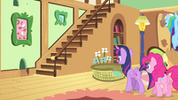 Fluttershy's friends walking inside the cottage S4E14