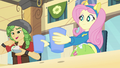 Fluttershy banging cups on the table 2 EG.png