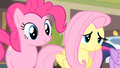 Pinkie Pie and Fluttershy listening to Rarity S4E08.png