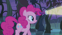 Pinkie Pie holding flashlight in her mane S4E07