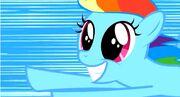 Rainbow Dash feliz por descubrir las carreras