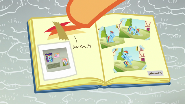 File:Scootaloo pastes Baby Rainbow pictures in her scrapbook S7E7.png