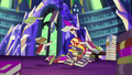 Sunset Shimmer flies into stacks of books EGS3.png