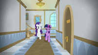 Twilight and Rarity walk the university halls S8E16