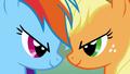 Applejack and Rainbow Dash head clash S1E13.png