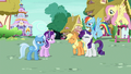 Applejack and Rarity laugh as Rainbow and Fluttershy enter S6E25.png