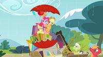 Applejack points umbrella upwards while Apple Bloom points umbrella downwards S4E09