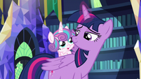 Flurry Heart riding on Twilight Sparkle's back S7E3