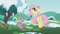 Fluttershy and Spike look up S1E11.png