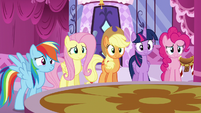 Main five listen happily as Rarity reads S6E9