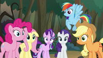 Main ponies look at Twilight in surprise S8E13