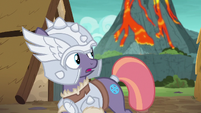 Mighty Helm mare looks back at the volcano S7E16