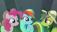 Rainbow, Pinkie, and Daring Do together again S7E18