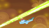 Rainbow Dash dodges green magic blast S9E2