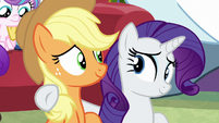 Rarity puts a hoof around Applejack MLPBGE