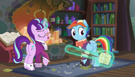 Snowfall Frost giving Snowdash a broom S6E8