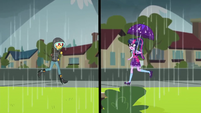 Sunset and Twilight running toward Canterlot High SS6