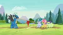 Thunderlane playing tug-of-war with the campers S7E21