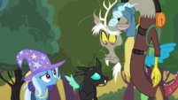 Trixie, Thorax and Discord look at each other S6E26