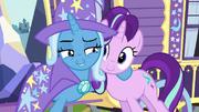 Trixie putting a hoof around Starlight Glimmer S6E25