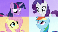 Twilight, Rarity, Fluttershy, and Dash on split screen S7E2