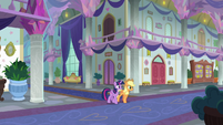 Twilight and Applejack in the school hallway S8E21